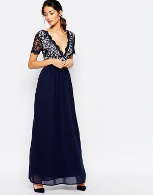Club L Платье макси с отделкой из кружева и фигурной кромкой Lace Occa. Цвет: темно-синий