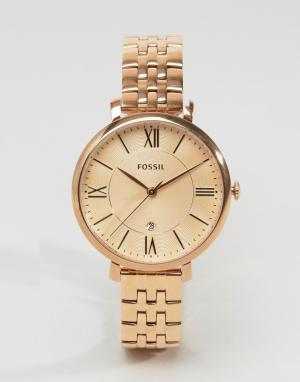 Fossil Наручные часы цвета розового золота ES3435 Jacqueline. Цвет: золотой
