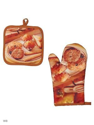 Набор для кухни: рукавичка, прихватка Dorothy's Home. Цвет: оранжевый, коричневый, светло-коричневый