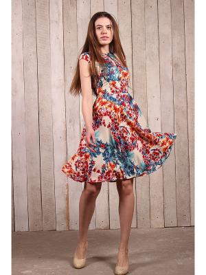 Платье-капелька в сине-красные цветы EMMY