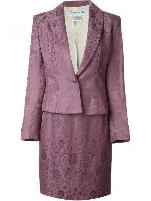 Жаккардовый юбочный костюм Christian Dior Vintage. Цвет: розовый и фиолетовый