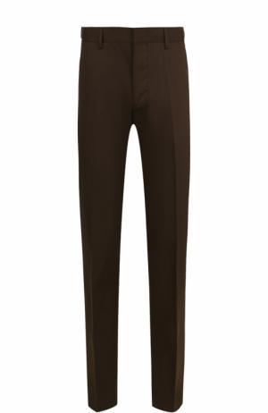Хлопковые брюки прямого кроя Lanvin. Цвет: хаки