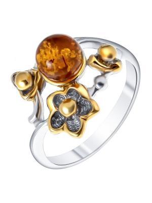 Кольцо Балтийское золото. Цвет: серебристый, желтый, оранжевый