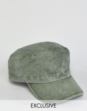 Reclaimed Vintage Кепка цвета хаки в армейском стиле. Цвет: зеленый