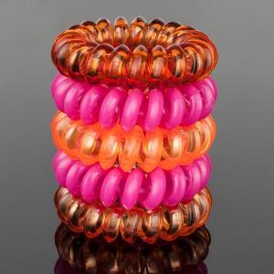 Комплект Резинок-Пружинок для волос 5 шт/уп, арт. РПВ-333 Бусики-Колечки. Цвет: розовый