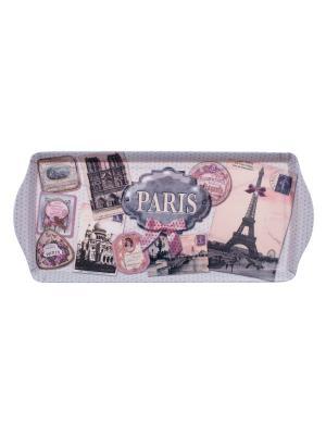 Поднос матовый 33,8 х 16,9 см,  Вспоминая о Париже Orval. Цвет: коричневый, бежевый, розовый