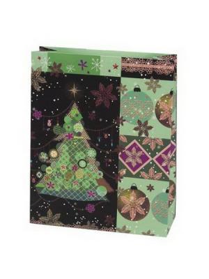 Пакет бумажный подарочный, 26х32х10см, 3 штуки СНОУБУМ. Цвет: зеленый