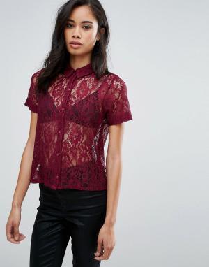 Hedonia Кружевная рубашка с короткими рукавами. Цвет: красный