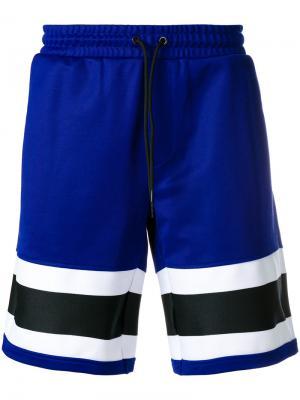 Спортивные шорты с полосатым принтом Ami Alexandre Mattiussi. Цвет: розовый и фиолетовый