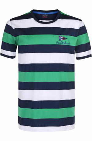Хлопковая футболка в контрастную полоску Paul&Shark. Цвет: зеленый