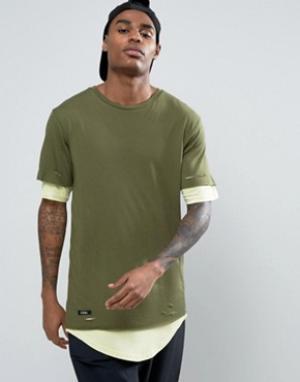 Cayler & Sons Длинная двухслойная футболка. Цвет: зеленый
