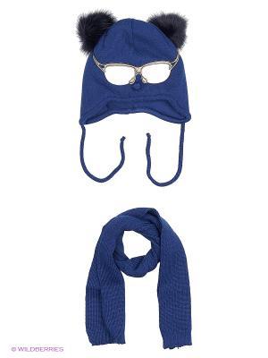 Шапка и шарф Ambra. Цвет: синий