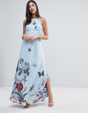 Uttam Boutique Платье макси с цветочным принтом и складками от горловины Boutiq. Цвет: синий