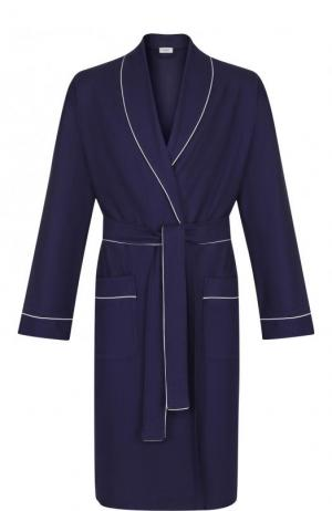Хлопковый халат с поясом Zimmerli. Цвет: темно-синий