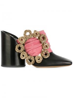 Мюли на скульптурированном каблуке с вышивкой Jacquemus. Цвет: чёрный