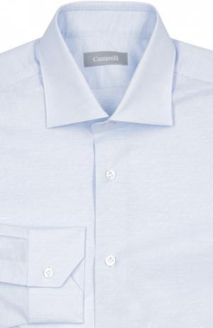 Меланжевая сорочка с воротником акула Cantarelli. Цвет: голубой