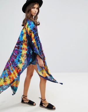 ASOS Кейп-кимоно с принтом тай-дай. Цвет: мульти