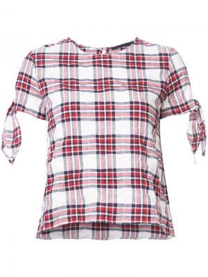 Блузка в клетку с рукавами на завязках Jenni Kayne. Цвет: красный