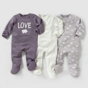 3 пижамы из интерлока 0 мес-3 лет R édition. Цвет: сиреневый + рисунок + белый