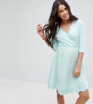 ASOS Maternity - Nursing Короткое приталенное платье для беременных с запахом. Цвет: зеленый