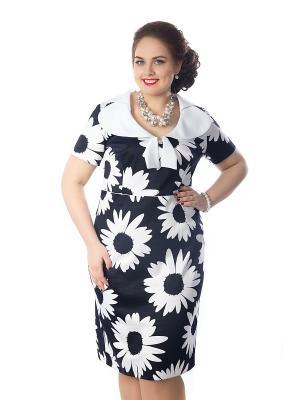 Платье Wisell. Цвет: темно-синий, белый