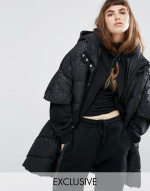Puffa Дутая куртка-кейп в стиле oversize с капюшоном и однотонным леопардовы. Цвет: черный