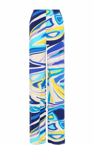 Брюки с ярким принтом и эластичным поясом Emilio Pucci. Цвет: голубой