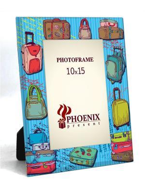 Декоративная фоторамка ЧЕМОДАНЫ  (из стекла, для фото 10*15см) Magic Home. Цвет: голубой