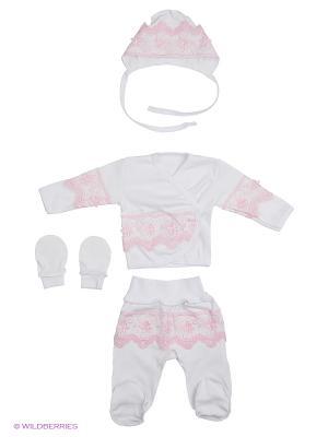 Комплект 4 предмета на выписку ЭЛИТ Ивбэби. Цвет: белый, розовый