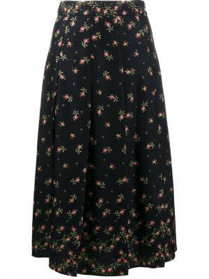 Плиссированная юбка с цветочным узором Philosophy Di Lorenzo Serafini. Цвет: чёрный