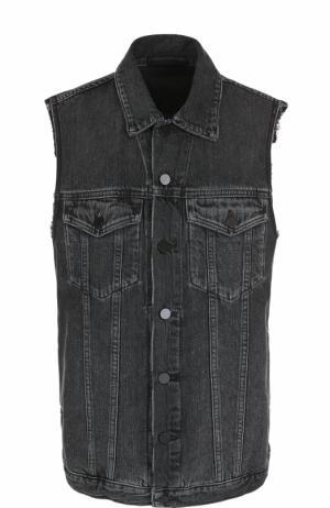 Удлиненный джинсовый жилет с потертостями Denim X Alexander Wang. Цвет: серый