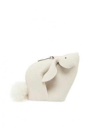 Белый кожаный кошелек Bunny LOEWE. Цвет: белый