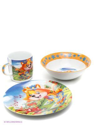 Набор детской посуды Лиса LORAINE. Цвет: оранжевый, белый, синий