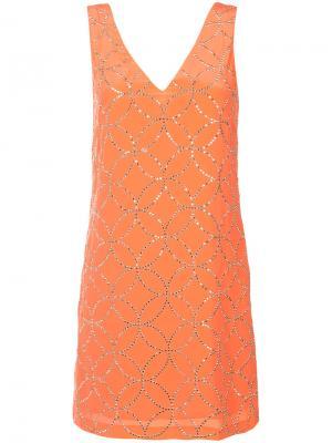 Платье-шифт с V-образным вырезом Trina Turk. Цвет: жёлтый и оранжевый