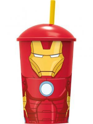 Стакан пластиковый с соломинкой и крышкой (400 мл). Мстители Железный человек Stor. Цвет: красный, желтый