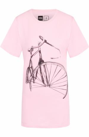 Удлиненная футболка прямого кроя Dedicated. Цвет: розовый