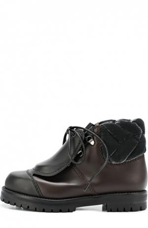 Кожаные ботинки со скрытой шнуровкой Marco de Vincenzo. Цвет: черный