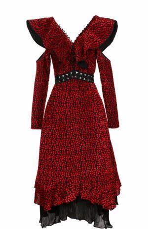 Платье-миди с V-образным вырезом на спинке и открытыми плечами self-portrait. Цвет: красный