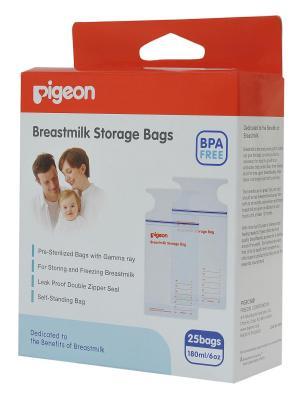Пакеты для заморозки и хранения грудного молока 180 мл одноразового применения, 25шт PIGEON. Цвет: белый