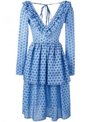 Платье с рисунком и складками Daizy Shely. Цвет: синий
