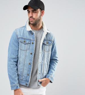 Liquor N Poker Выбеленная куртка с отделкой из искусственного меха Nor. Цвет: синий