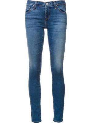 Джинсы скинни с линялым эффектом Ag Jeans. Цвет: синий