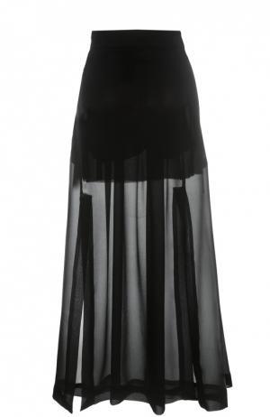 Полупрозрачная шелковая юбка с разрезами Isabel Benenato. Цвет: черный
