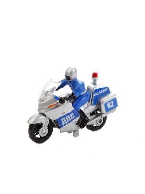 Мотоцикл металлическая  10см, с фигуркой полиция/вс, на блистере. Технопарк. Цвет: белый