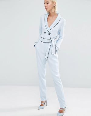 Lavish Alice Зауженные брюки с завязкой на поясе. Цвет: синий