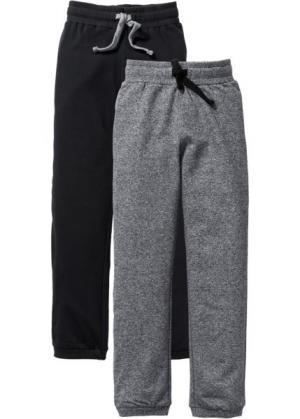 Трикотажные брюки (2 шт.) (черный/серый меланж) bonprix. Цвет: черный/серый меланж