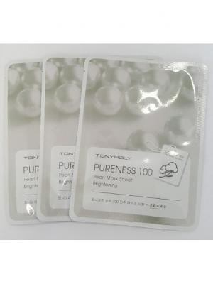 Тканевая маска с экстрактом жемчуга PURENESS 3*, 21 мл Tony Moly. Цвет: белый