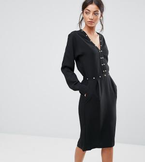 Y.A.S Tall Платье с длинными рукавами и отделкой. Цвет: черный