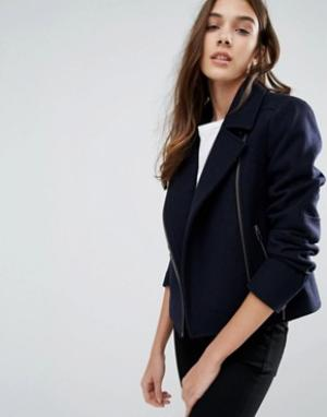Jack Wills Байкерская куртка из тяжелого сукна мельтон Eglingham. Цвет: темно-синий