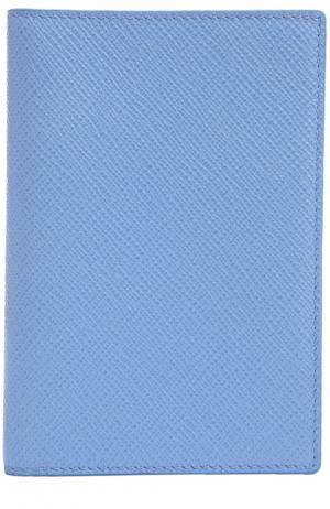 Кожаная обложка для паспорта Smythson. Цвет: голубой